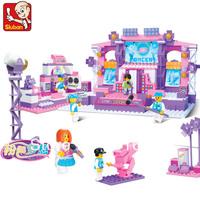 Sluban Pink Dream Series Dreamy Stage Building Block Sets 430pcs Girls Enlighten Educational DIY Construction Bricks toys B0255