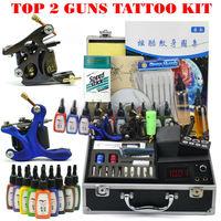 2 Guns Professional Tattoo Machine Kit 15 Colors 15ml Inks book Power Tips needles Supply, free shipping
