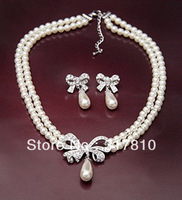 Silver Plated Double Strand Cream Pearl Bridal Necklace Earrings Set Bow Design Wedding Jewelry