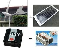 70w hybrid system,50w wind turbine+20w solar panel+200w hybrid controller+300w inverter,high quality,low price,free shipping