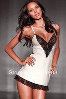 Free Shipping 12pcs/lot  Mix order Babydoll Lingerie Wholesale Women's Sexy Underwear Nightwear Lace Trim Satin Chemise 2599
