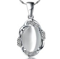 Kastm brand wholesale 925 sterling silver platinum  Cat's eye opal pendant choker necklace   ksn046