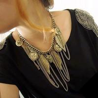 Min.order is $15 (mix order) fashion accessories vintage man head portrait tassel leaves  female necklace DZ1308