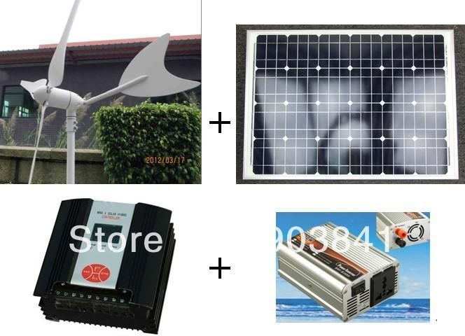 100w hybrid system,50w wind turbine+50w solar panel+200w hybrid controller+500w inverter,high quality,low price,free shipping(China (Mainland))