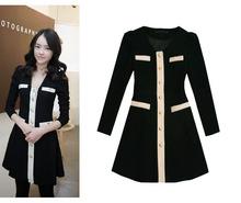 2012 color block slim gold buckle vintage evidenced long sleeve woolen one piece dress