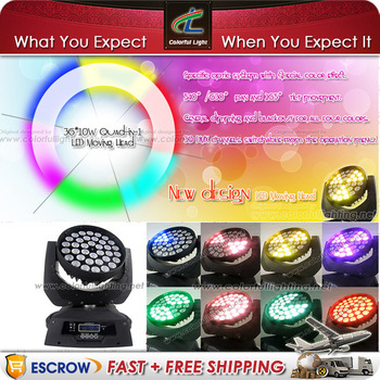 Free Shipping New design 36 x 10W CREE RGBW Quad in 1 LED Wash Moving Head 39 DMX Channel Lighting