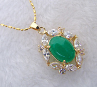 Pretty Jewelry White Crystal Inlay Green Jade Pendant Necklace +Chain