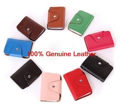 Free shipping 100% genuine cow leather credit card wallet bank card case 10pcs/lot factory wholesale BG009(China (Mainland))