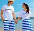 Free Shipping, Lovers summer letter stripe short-sleeve beach pants tank dress t-shirt short-sleeve lovers set