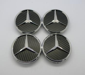 free shipping, 4 pcs black color Wheel Emblem Center Hub Caps Cover for MERCEDES Benz C E S CL ML SL 75mm, Quality Carbon Fiber