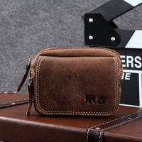 genuine leather waist pack casual men's vintage cowhide mobile phone waist bag,0713C,