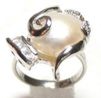 Genuine White Mabe Pearl Ring Size7 -9