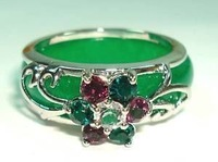 Charming Green Jade Crystal Flower Ring