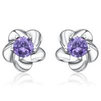 Kastm Brand Pure 925 Sterling Silver platinum  flower  diamond stud earrings fine jewelry kse015