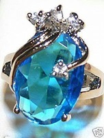 Wedding Engagement blue Crystal ring sz 6 7 8