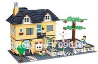 DIY  Enlighten Child 34052 educational toys WANGE Villa House toys building block sets,children toys free Shipping