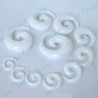 Free shipping 10pcs MIX sizes UV Acrylic white color EYECATCHING ACRYLIC SPIRAL TAPER EAR STRETCHER/EXPANDER 2-14mm