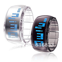 HOT Sell Pair of Bracelet Led Jelly Wrist Watch Blue Light Black and White Band free shipping