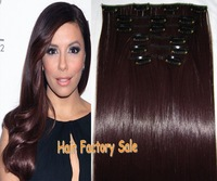 "Direct Hair Factory Sale 22"" High Quality Heat resistant 7pcs/130g Synthetic hair Clip in Hair Extensions #M33X Burgundy"