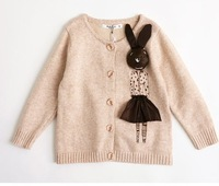 Korean version 2013 New kids baby girls rabbit cartoon sweater cardigan sweaters pretty children clothes,Free Shipping