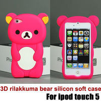 new arrival cute 3D rilakkuma bear silicon soft case for ipod touch 5, with retail packaging free shipping