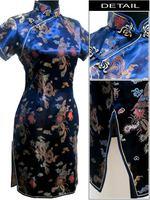 Navy Blue Chinese Women's Satin Polyester Cheong-sam Mini Qipao Dress Dragon Phenix S M L XL XXL XXXL 4XL 5XL 6XL J4065