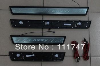 New! High quality LED Door sill Scuff plate trim 4pcs Toyota Camry XV50 Daihatsu Altis 2012 4-door sedan OEM