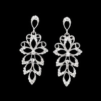 Min.order is $15 (mix order),Fashion Elegant Zinc Alloy Silver Crystal Stone Filigree Drop Earring,1 dollar item,Free Shipping