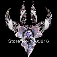 Ювелирный набор High Quality Austrian Crystal Green Stone Rhodium Plated Bridal Jewelry Set