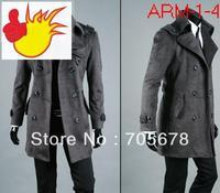 hot sale plus size Fashion brand autumn and winter men's coat outerwear  black grey M L XL XXL XXXL