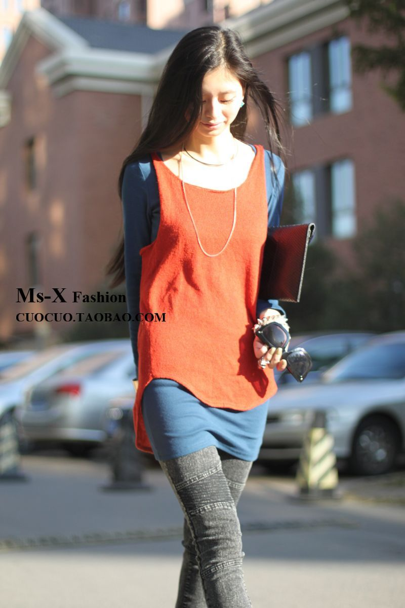 Spring and summer mix match yarn vest long design loose o-neck irregular vest(China (Mainland))