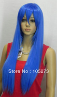 New Arriver Retail Cosplay Wig Party Wig Long Straight Hair Wigs Woman's Lady's Blue 80cm High Temperature Wire Free Shipping