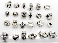 50 Pcs Mixed Sliver Tone European Charm Beads.Fit Charm Bracelet(w01026)