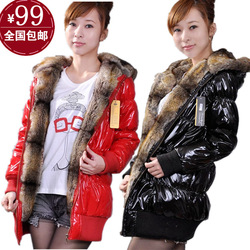 Free shipping new fashion Korean version of women's down jacket fur Hooded Coat thickened slim long padded clothes Coat(China (Mainland))
