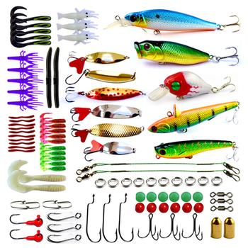 Free shipping, 88pcs/box, Spoon, Minnow, Popper, Soft Worm  fishing lure set
