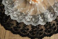 cotton embroidery lace Applique black white flower lace 15cm