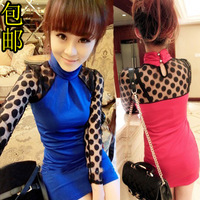 2012 autumn women's lace dress sexy slim long-sleeve basic slim hip skirt for evening wear