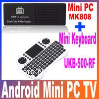 MK808 Android 4.1 Mini PC TV Dongle IPTV Box Rockchip RK3066 1.6GHz Cortex A9 1GB RAM 8GB ROM with Mini Keyboard Remote Control