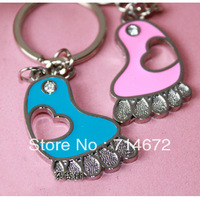 Free shipping (48PR/LOT )Wholesale Personalized couples gifts cute foot Alloy couple key chain novelty rings