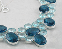 Freeshipping-New arrival  jewelry IOLITE +BLUE TOPAZ Bib silver chain necklace Designed by designers  fashion week. Hot sales