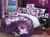 fashion chinese painting purple flower pattern home textile cotton 4pcs for queen/full bedding sets comforter/quilt/duvet covers