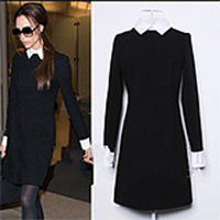 Free Shipping  2013 Autumn Winter women fashion slim elegant  Victoria Beckham Zipper Black Dress