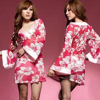 Women's sexy underwear kimono noble transparent temptation set robe t belt