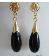 Charming Black Agate Jade Fortune Earring