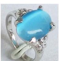Sky-Blue Opal 18KWGP Ring Size  7 8 9