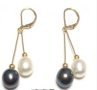 Genuine Black White Pearl 18KGP hook Earrings