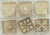 Elegant decorative pattern crystal stamp, crystal square stamp 6 patterns/lot, free shipping
