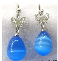 Blue Opal Drip Silver Butterfly Earrings