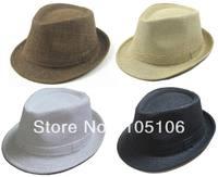 Unisex Solid Straw Hats Fedora Hats Plain Straw Fedoras Caps Cap Spring Summer Cap Black White Beige Brown Color