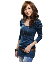 Free shipping Hubble-bubble sleeve weave sweater, women based T shirt fashion,free shipping L004